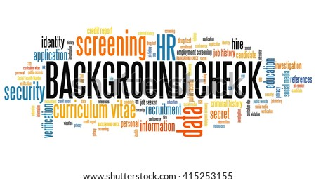 Background check - career screening. Word cloud concept. - stock photo