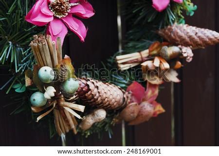 background christmas holiday wreath cones acorns - stock photo