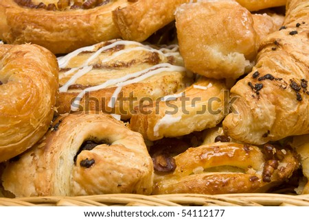 background close up image of French and Danish Puff Pastry treats.