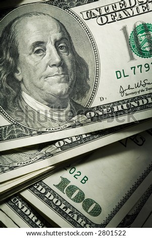 Background. Close up of a $ banknotes - stock photo