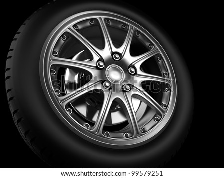 Background closeup automotive wheel with alloy metallic rim - stock photo