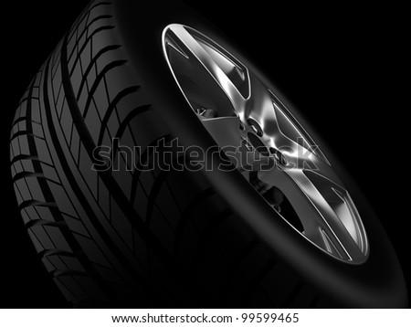 Background closeup automotive wheel with alloy metallic rim - stock photo