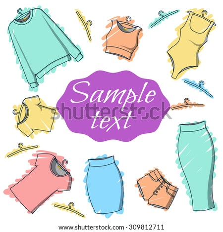 Background clothes for design of printed materials. Postcard with clothes. Clothing for watercolor. Sketch clothes - stock photo