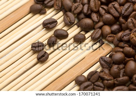 Background coffee beans on a bamboo napkin.