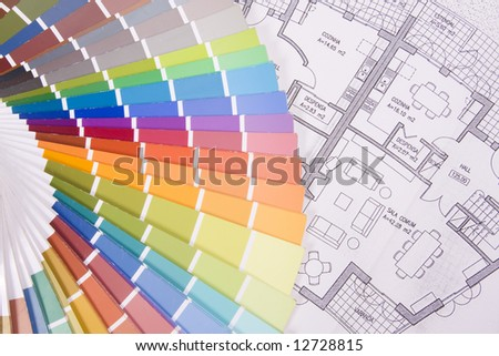 background colorful palette over a blueprint plan - stock photo