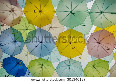 background colorful umbrella, vintage tone - stock photo