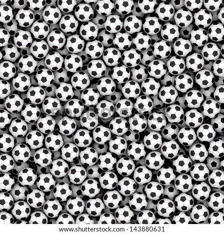 Background composed of many soccer balls. High resolution 3D image - stock photo