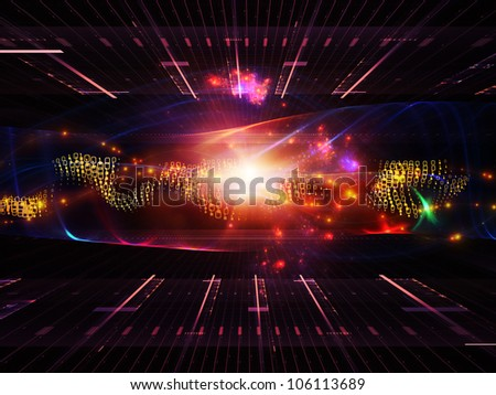 Background composition of  abstract sine waves and design elements to complement your layouts on the subject of modern computing, virtual reality and signal processing - stock photo