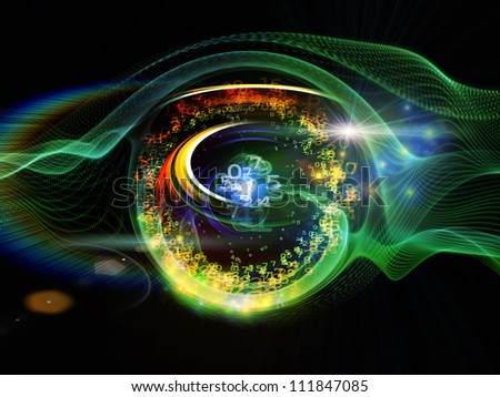 Background composition of  technological design elements and circular turbulence to complement your layouts on the subject of signal processing, communications and modern technology - stock photo