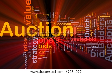 Background concept illustration of Auction bid sale glowing light - stock photo