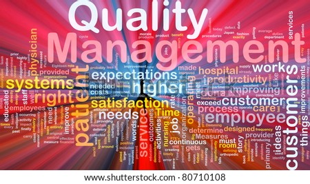 Background concept illustration of business quality management glowing light - stock photo