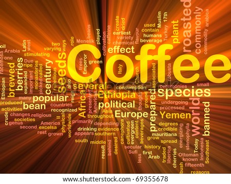 Background concept illustration of coffee beverage drink glowing light - stock photo