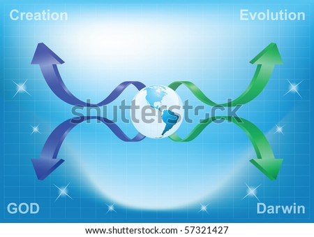 Background concept of creation verses evolution with copy space for own text - stock photo