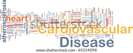 Background concept word cloud illustration of heart cardiovascular disease - stock photo