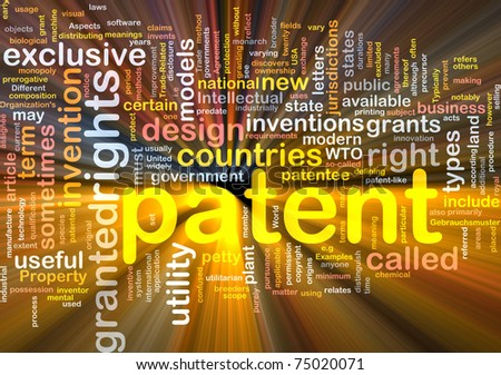 Background concept word cloud illustration of patent glowing light - stock photo