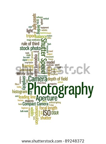 Background concept word cloud illustration of photography different languages - stock photo