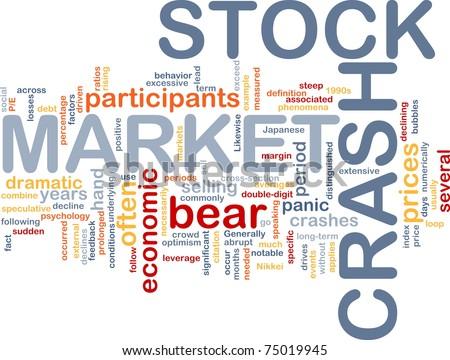 Background concept word cloud illustration of stock market crash - stock photo