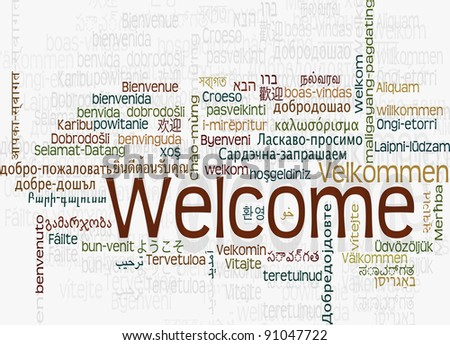 Background concept word cloud illustration of welcome different languages - stock photo