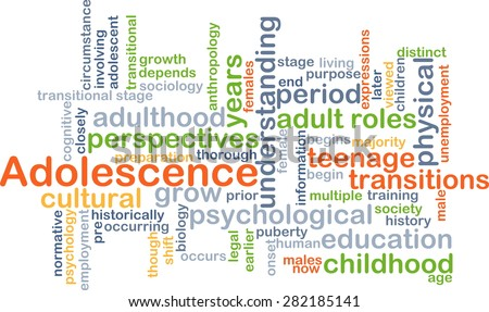 Background concept wordcloud illustration of adolescence - stock photo