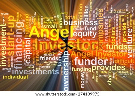 Background concept wordcloud illustration of angel investor many language glowing light - stock photo