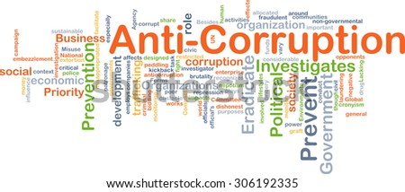 Background concept wordcloud illustration of anti-corruption - stock photo