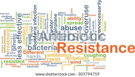 Background concept wordcloud illustration of antibiotic resistance - stock photo
