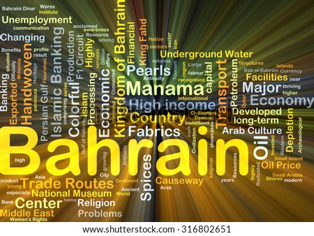 Background concept wordcloud illustration of Bahrain glowing light