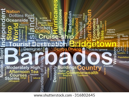 Background concept wordcloud illustration of Barbados glowing light