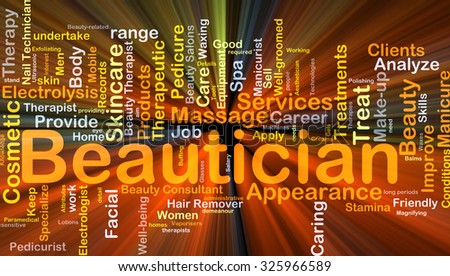 Background concept wordcloud illustration of beautician glowing light - stock photo