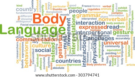 Background concept wordcloud illustration of body language - stock photo