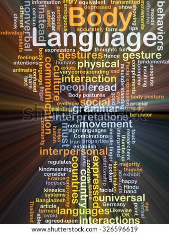 Background concept wordcloud illustration of body language glowing light
