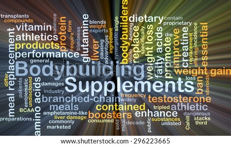 Background concept wordcloud illustration of bodybuilding supplements glowing light - stock photo