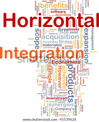 Background concept wordcloud illustration of business horizontal integration - stock photo