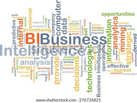 Background concept wordcloud illustration of business intelligence BI - stock photo