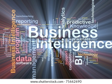 Background concept wordcloud illustration of business intelligence glowing light - stock photo