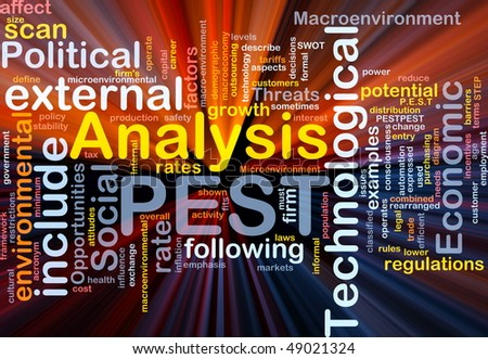 Background concept wordcloud illustration of business PEST analysis glowing light