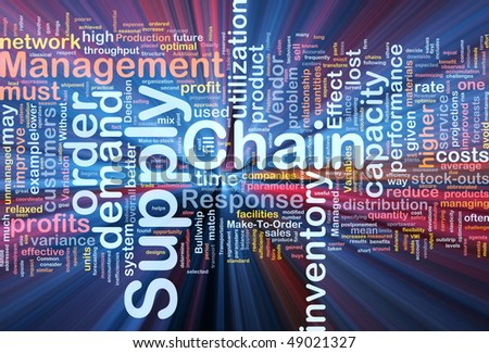 Background concept wordcloud illustration of business supply chain glowing light