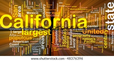 Background concept wordcloud illustration of California American state glowing light - stock photo