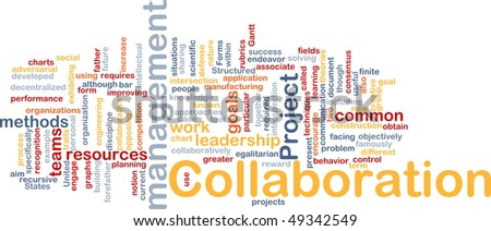 Background concept wordcloud illustration of Collaboration management cooperation - stock photo