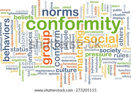 Background concept wordcloud illustration of conformity behavior