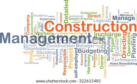 Background concept wordcloud illustration of construction management - stock photo