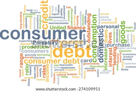 Background concept wordcloud illustration of consumer dept - stock photo