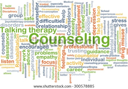 Background concept wordcloud illustration of counseling - stock photo