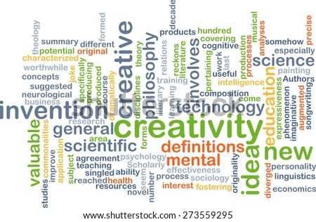 Background concept wordcloud illustration of creativity - stock photo