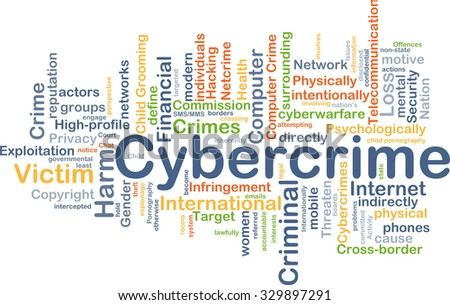 Background concept wordcloud illustration of cybercrime - stock photo