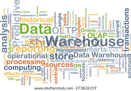 Background concept wordcloud illustration of data warehouse - stock photo