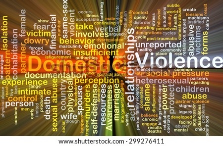 Background concept wordcloud illustration of domestic violence glowing light - stock photo