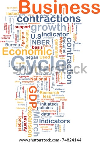 Background concept wordcloud illustration of economic business cycle - stock photo