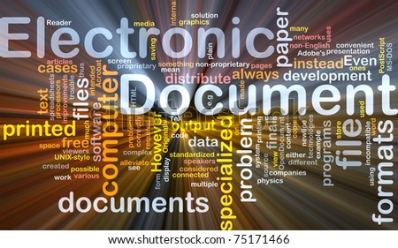 Background concept wordcloud illustration of electronic documents glowing light - stock photo