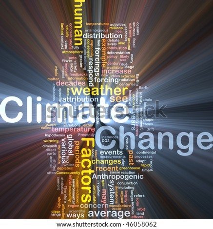 Background concept wordcloud illustration of global climate change glowing light - stock photo